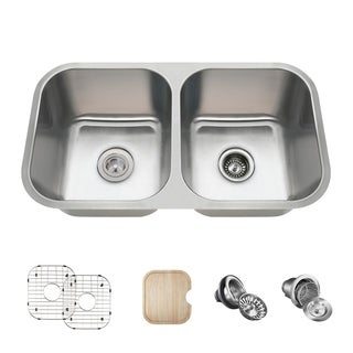 MR Direct 3218A Kitchen Ensemble Stainless Steel Equal Double Bowl Sink