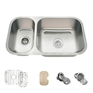 MR Direct 3218B Offset Double Bowl Undermount Stainless Steel Sink, Cutting Board, Two Grids, and Standard and Basket Strainers