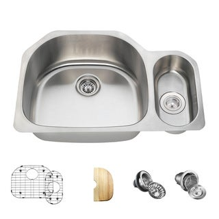 MR Direct 3221 Offset Stainless Steel Kitchen Sink, Cutting Board, Two Grids, and Standard and Basket Strainers