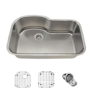 MR Direct 346 Offset Single Bowl Stainless Steel Sink, Two Grids, and Basket Strainer