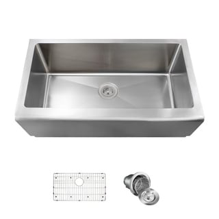 MR Direct Single Bowl Stainless Steel Apron Sink, Grid, and Basket Strainer