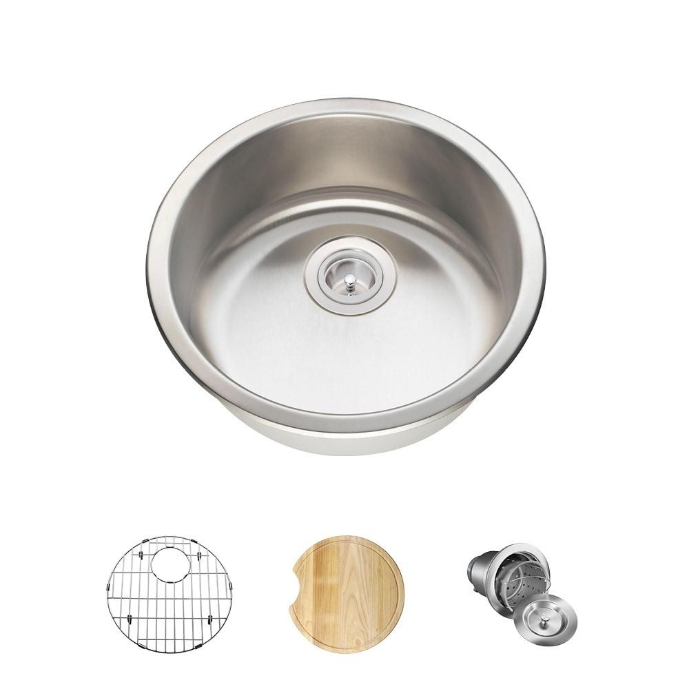 MR Direct 465 Circular Stainless Steel (Silver) Bar Sink,...