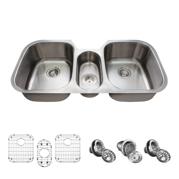 4521-16 Triple Bowl Stainless Steel, Two Grids, and Standard and Basket Strainers