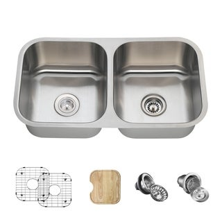 MR Direct 502 Double Bowl Stainless Steel Sink, Cutting Board, Two Grids, and Standard and Basket Strainers