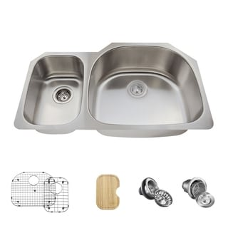 MR Direct 509 Kitchen Ensemble Stainless Steel Offset Double Bowl Sink