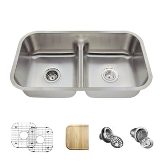 MR Direct 512 Half Divide Stainless Steel Kitchen Sink, Cutting Board, Two Grids, and Standard and Basket Strainers