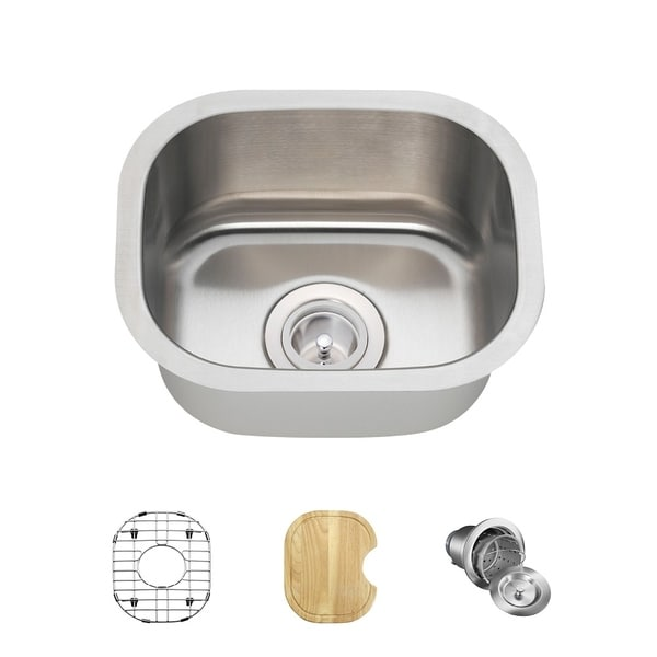 1512 Stainless Steel Bar Sink, Cutting Board, Grid, and Basket Strainer