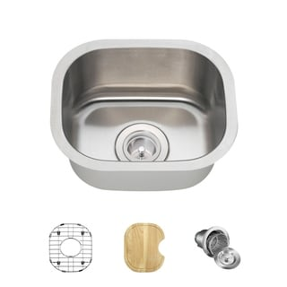 MR Direct 1512 Stainless Steel Bar Sink, Cutting Board, Grid, and Basket Strainer