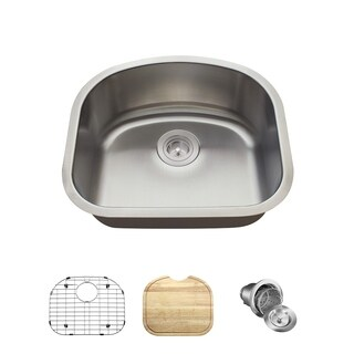 MR Direct 2118 D Bowl Stainless Steel Sink, Cutting Board, Grid, And