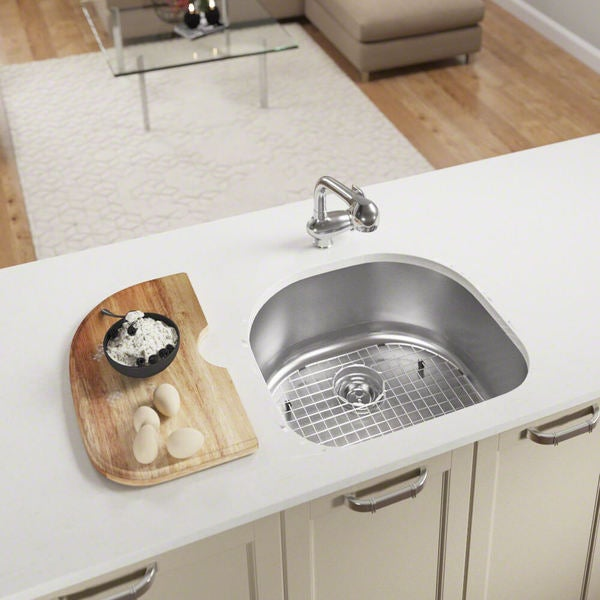MR Direct 2421 D Bowl Stainless Steel Kitchen Sink, Cutting Board, Grid,