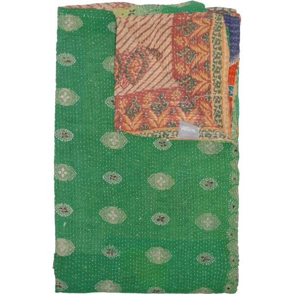 Taj Hotel Vintage Handmade Green Reversible Kantha Rectangular Throw Blanket