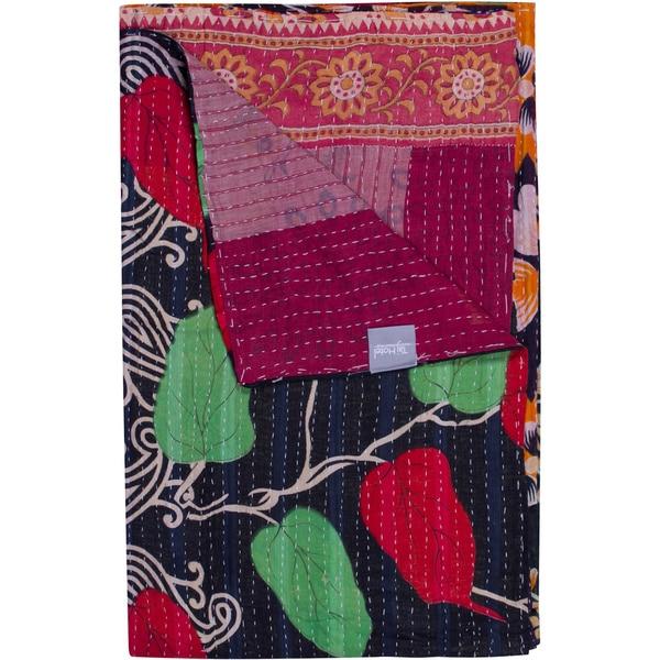 Taj Hotel Vintage Handmade Kantha Multi-colored Rectangular Throw Blanket