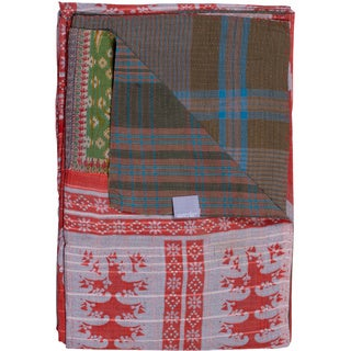 Taj Hotel Vintage Handmade Kantha Rectangular Throw Blanket