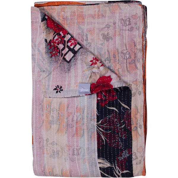 Taj Hotel Vintage Handmade Kantha Rectangular Throw