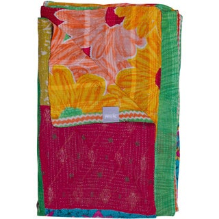 Taj Hotel Vintage Handmade Kantha Pink/ Yellow Rectangular Throw Blanket