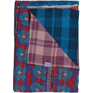 Taj Hotel Vintage Handmade Kantha Blue/ Purple Rectangular Throw Blanket