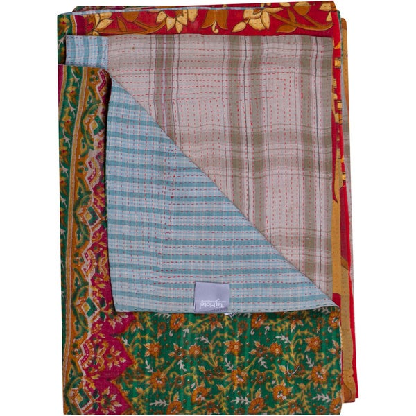 Taj Hotel Vintage Handmade Kantha Green Rectangular Throw Blanket