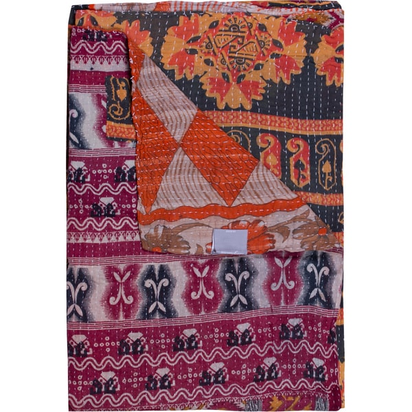 Taj Hotel Vintage Handmade Kantha Pink/ Blue Rectangular Throw Blanket