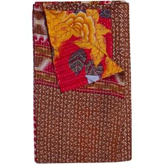 Taj Hotel Vintage Handmade Kantha Red Rectangular Throw