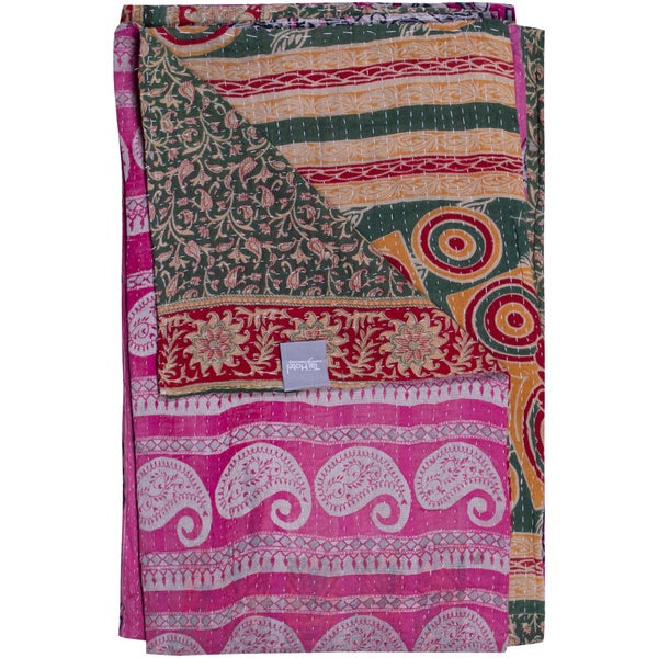 Vintage Handmade Kantha Rectangular Throw