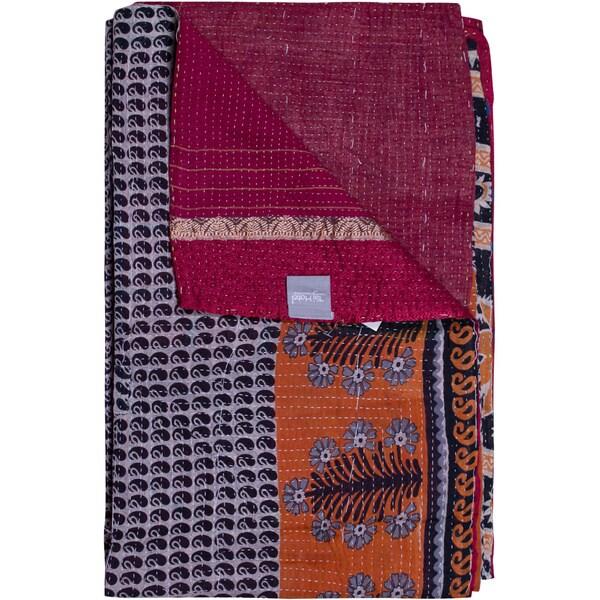 Taj Hotel Vintage Handmade Orange/ Blue Kantha Rectangular Throw Blanket