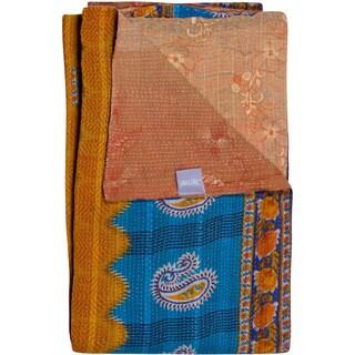 Taj Hotel Vintage Blue/ Yellow Reversible Handmade Kantha Rectangular Throw