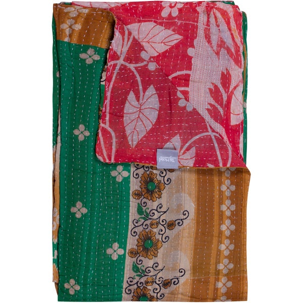 Taj Hotel Vintage Handmade Green/ Yellow Kantha Rectangular Throw Blanket