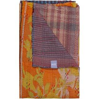 Taj Hotel Vintage Yellow/ Orange Handmade Kantha Rectangular Throw