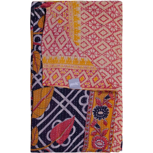 Taj Hotel Vintage Handmade Navy/ Yellow Kantha Rectangular Throw
