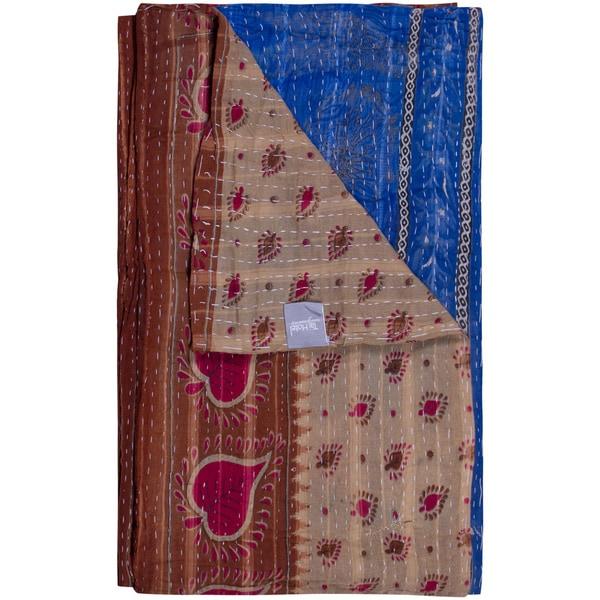 Taj Hotel Vintage Handmade Taupe/ Blue Kantha Rectangular Throw