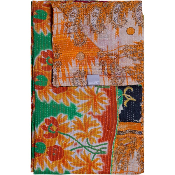 Taj Hotel Vintage Handmade Green/ Yellow Paisley Kantha Rectangular Throw