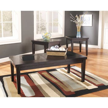 Denja 3-Piece Dark Brown Occasional Table Set
