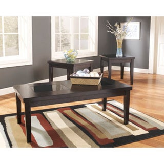 Denja 3-Piece Dark Brown Occasional Table Set