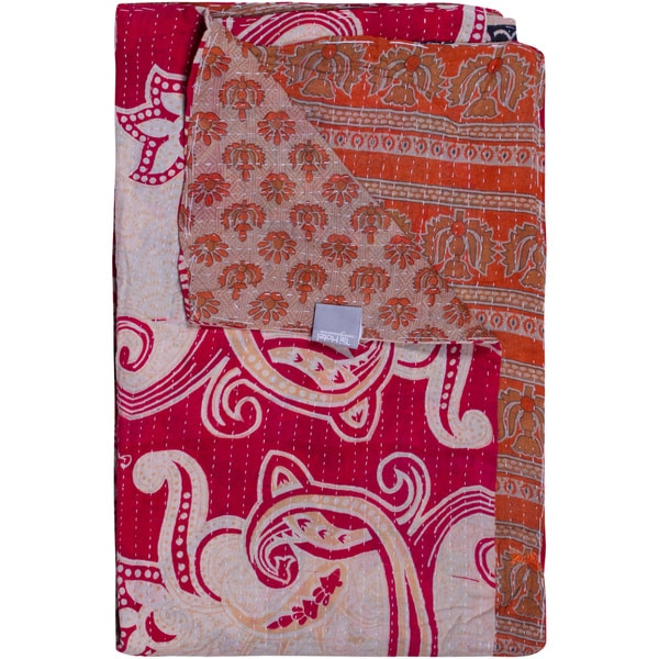 Taj Hotel Vintage Handmade Raspberry Kantha Rectangular Throw