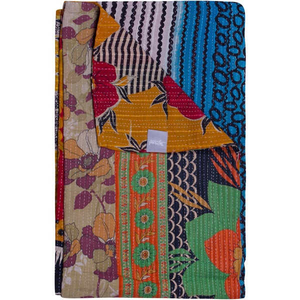 Taj Hotel Vintage Handmade Multicolor Kantha Rectangular Throw