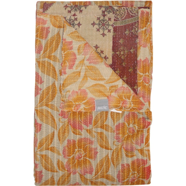 Taj Hotel Vintage Handmade Kantha Flower Throw