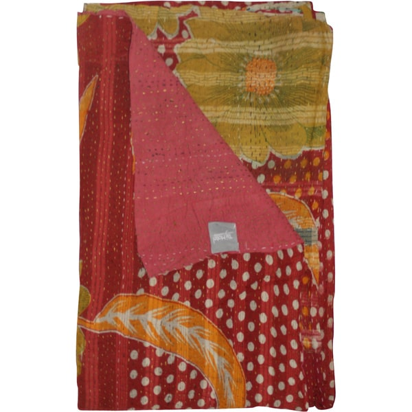 Taj Hotel Vintage Handmade Kantha Green Throw