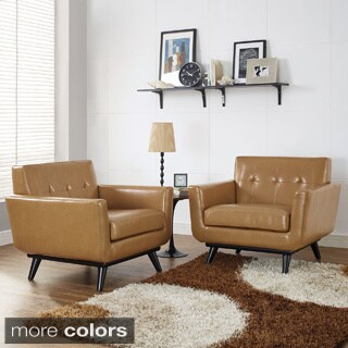 Engage Mid Century Leather Chair Set