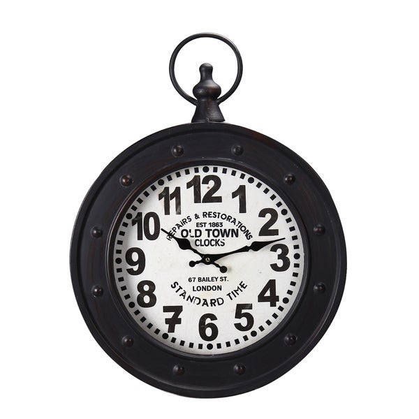 """Black And White Wall Clock adeco black iron vintage-inspired """"old town clocks"""" pocket watch"""