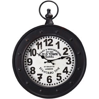 "Adeco Black Iron Vintage-Inspired ""Old Town Clocks"" Pocket Watch Style Hanging Wall Clock"