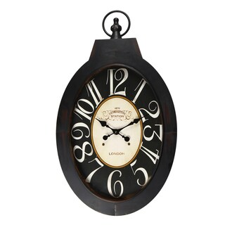 "Adeco Black Iron Vintage-Inspired Pocket Watch Style ""Kensington Station"" Hanging Wall Clock"