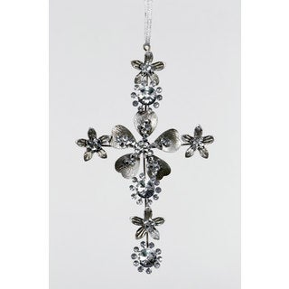 Sage & Co 4-inch x .05-inch x 7-inch Jeweled Tin Cross Christmas Ornament (Pack of 12)