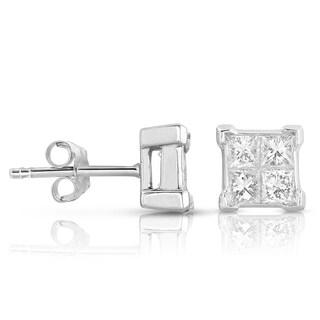 Eloquence 14k White Gold 1/4ct TDW Princess-cut Diamond Studs (H-I, I1-I2)