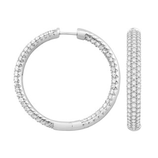 Eloquence 14k White Gold 5ct TDW Pave Diamond Hoop Earrings