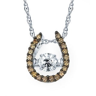 Boston Bay Diamonds 14k White Gold 3/8ct TDW Brown & White Diamond Horseshoe Pendant w/ Chain
