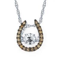 Boston Bay Diamonds 14k White Gold 3/8ct TDW Brown & White Diamond Horseshoe Pendant w/ Chain