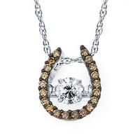 Shop jewelonfire 10k white gold 15ct tdw blue diamond horseshoe boston bay diamonds 14k white gold 38ct tdw brown white diamond horseshoe pendant aloadofball Choice Image