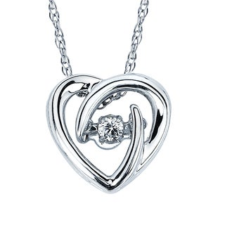 Boston Bay Diamonds Brilliance in Motion Sterling Silver Diamond Heart Pendant