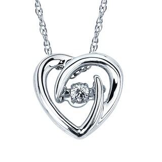 Boston Bay Diamonds 925 Sterling Silver .05ct TDW Diamond Heart Pendant w/ Chain - White