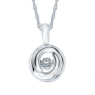 Boston Bay Diamonds Brilliance in Motion Sterling Silver Circle Solitaire Diamond Pendant (I-J, I1-I2)